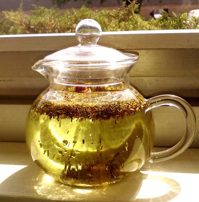 Sun tea brewing on the windowsill