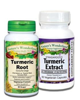Whole herb Turmeric and standardized Turmeric capsules