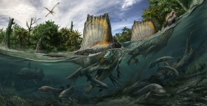 The wealth of aquatic life, including shrimp, bony fish, lungfish and giant lobe-finned coelacanths, supported a remarkable array of predators, including the fish-eating sail-backed Spinosaurus and toothless pterosaur Alanqa soaring overhead. Credit: Artwork by Davide Bonadonna License: CC-BY 4.0