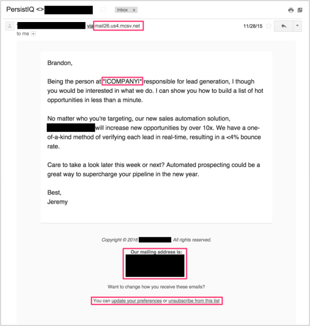 giveaways of automation in cold sales emails