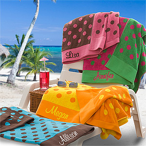 polka dot custom beach towel