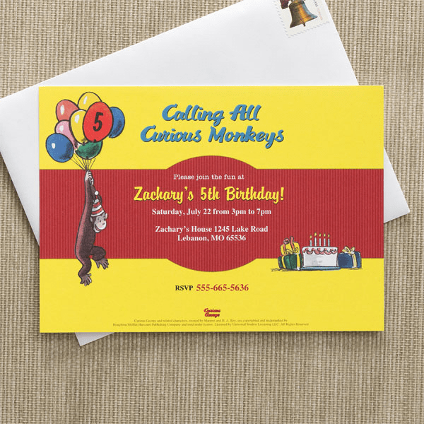 curious george invite