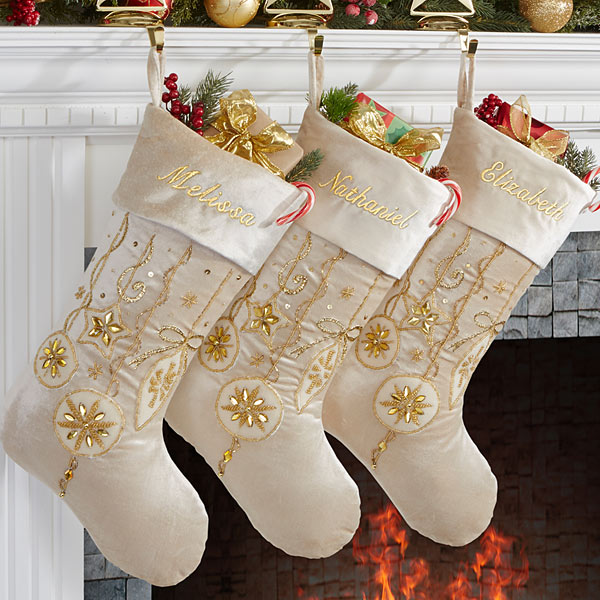 Yuletide Gold Elegant Christmas Stockings
