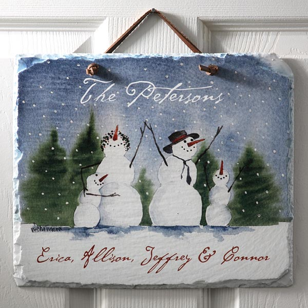 Snowman Family Slate Plaque