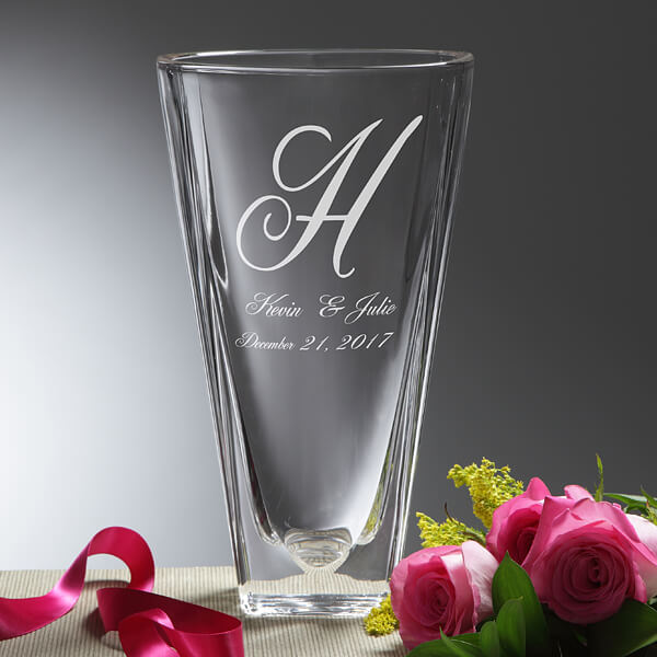 Engrave Crystal Vase Wedding Gift