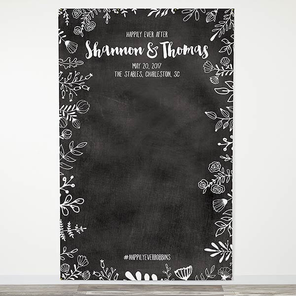 Chalkboard Personalized Wedding Photo Backdrop