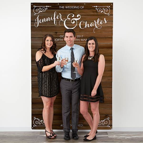 Rustic Wedding Personalized Photo Backdrop