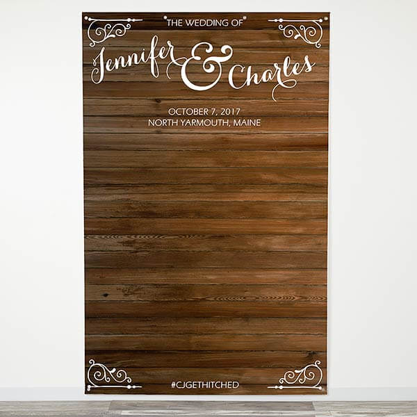 Rustic Wood Personalized Wedding Photo Backdrop