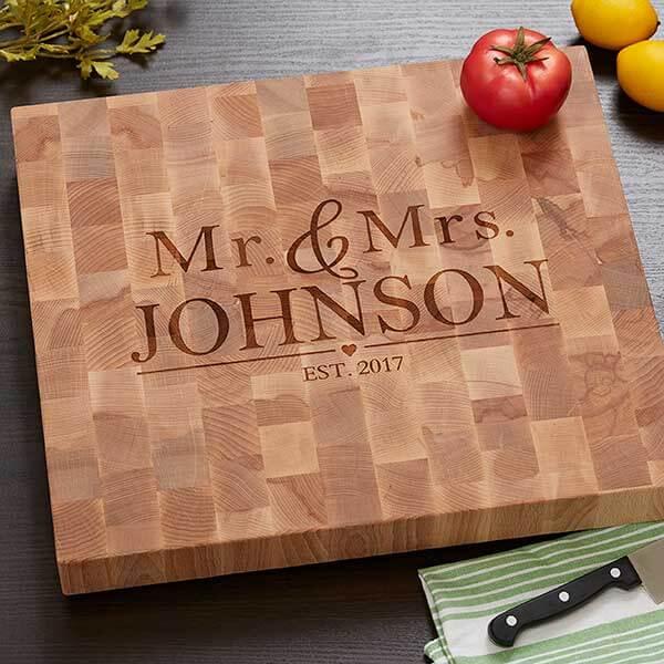 Butcher Block Cutting Board - Wedding Design