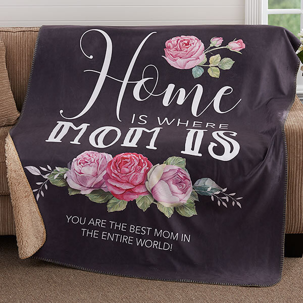 Home Is Where Mom Is Personalized Premium Blankets