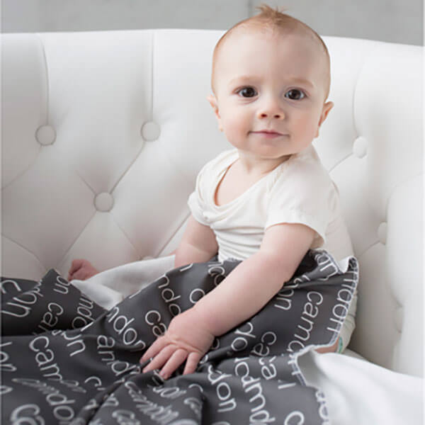 Modern Repeating Name Personalized Baby Hat & Swaddle Blanket