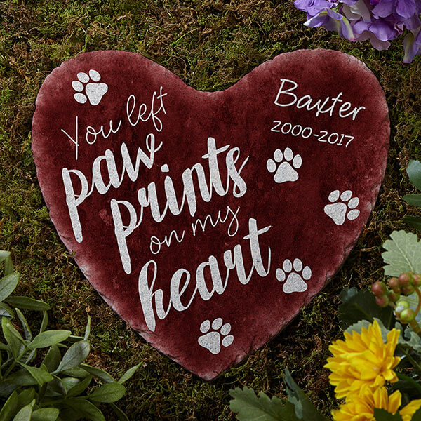 Paw Prints On My Heart Personalized Heart Garden Stone