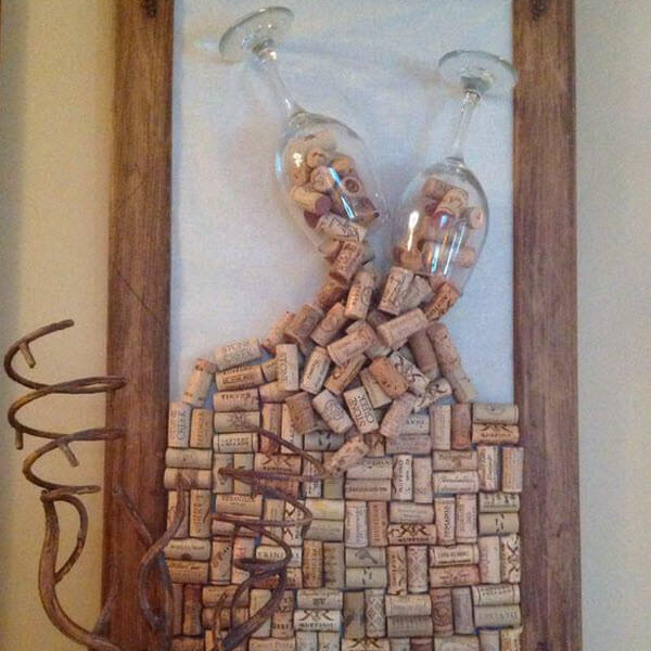 Wine Cork Wedding Guestbook Wall Art