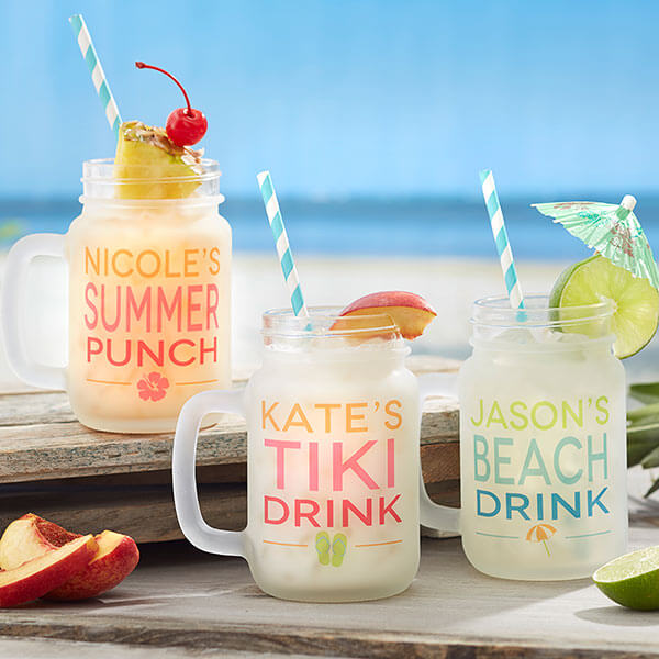 Summer Fun Personalized Frosted Mason Jar