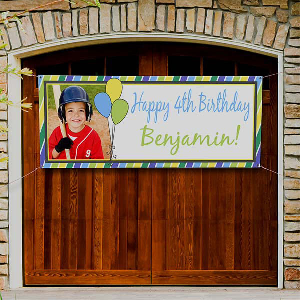 Party Stripe Personalized Photo Birthday Banner