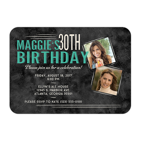 Vintage Age Personalized Birthday Party Invitations