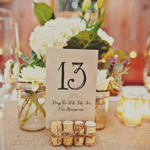 Wine Cork Wedding Ideas - Table Numbers