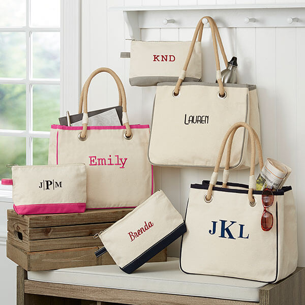 Embroidered Canvas Rope Tote & Makeup Bag