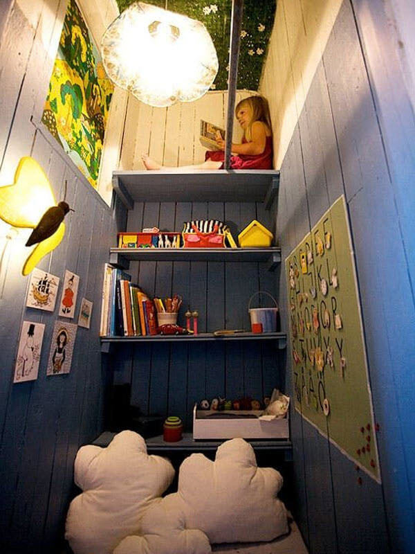 Playful Reading Nook In a Converted Closet
