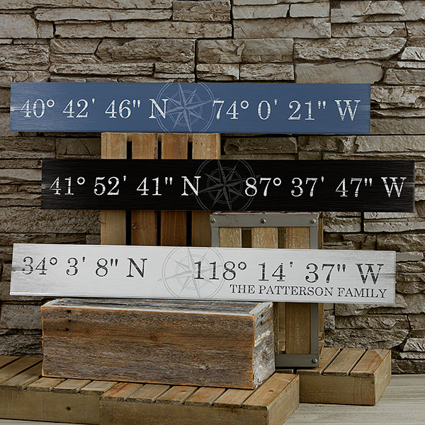 Real Estate Closing Gifts - Latitude & Longitude Wood Sign