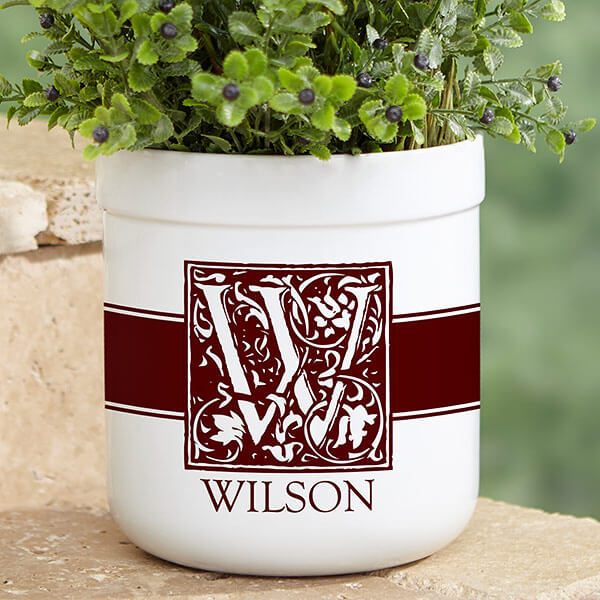 Real Estate Closing Gifts - Monogrammed Flower Pot