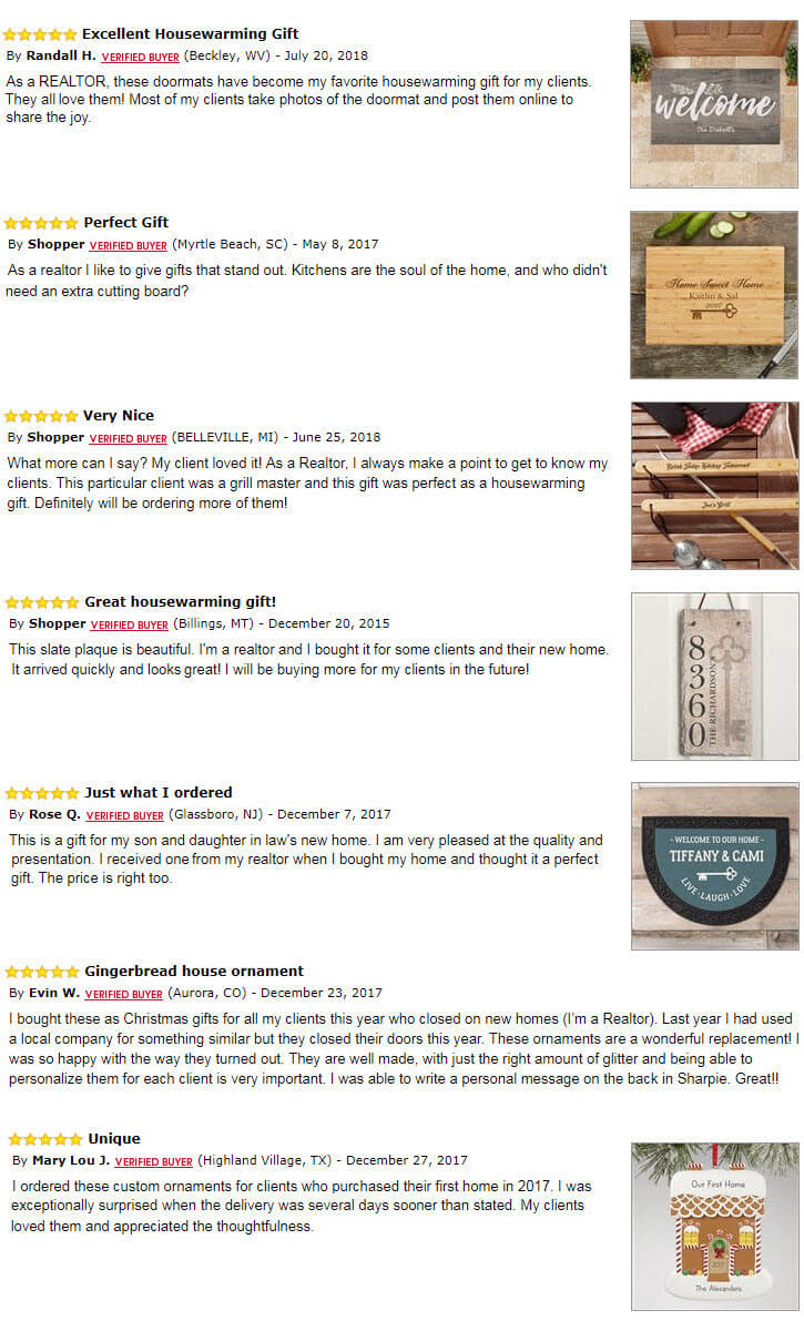 Realtor Gifts - Reviews