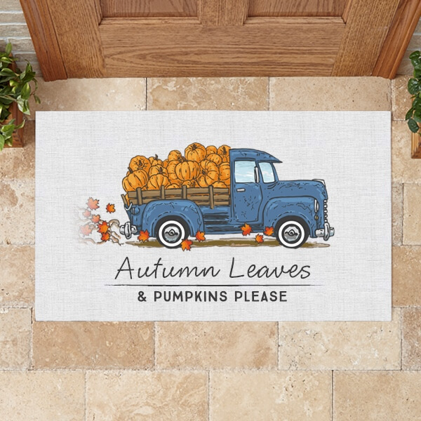 Autumn Leaves & Pumpkins Please Fall Doormat