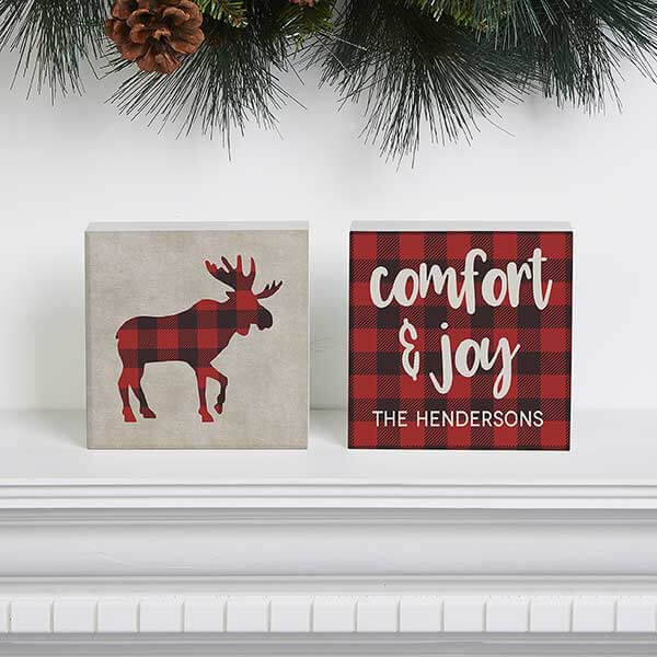 Buffalo Check Holiday Shelf Blocks