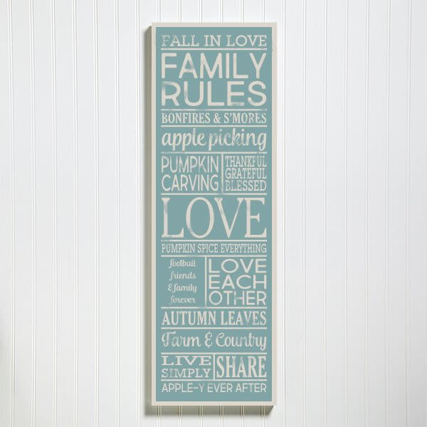Custom Fall Family Rules Sign