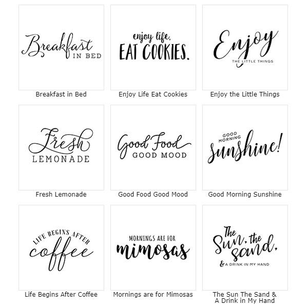 Quotes options for the Typography Quotes Serving Tray