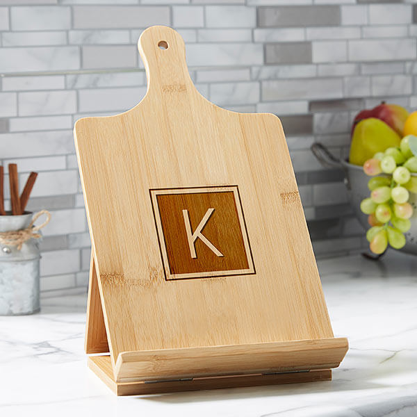 Personalized Cookbook & Tablet Stand - Kitchen Counter Decor Ideas