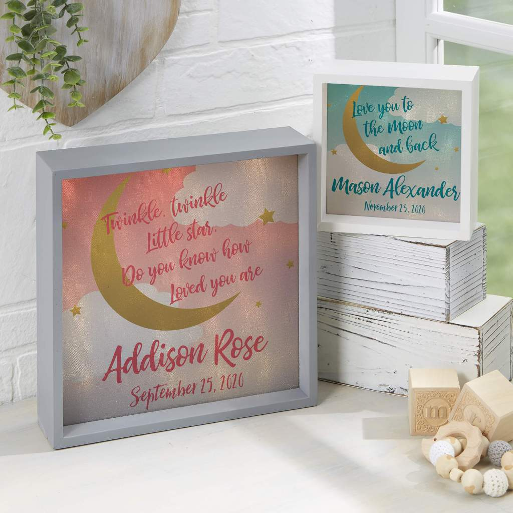 Moon & Stars Nursery Decor - LED Shadow Box