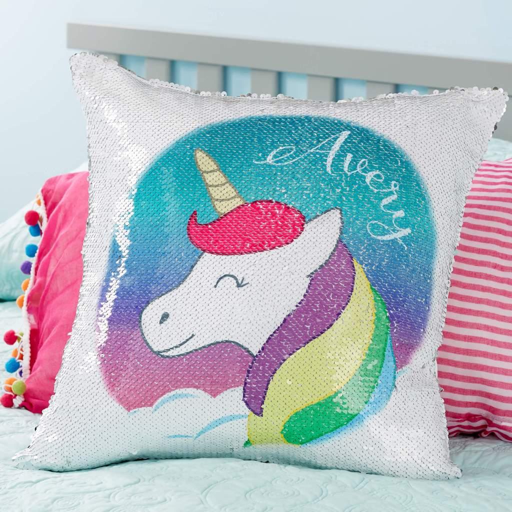Unicorn Nursery Decor - Flip Sequin Throw Pillow