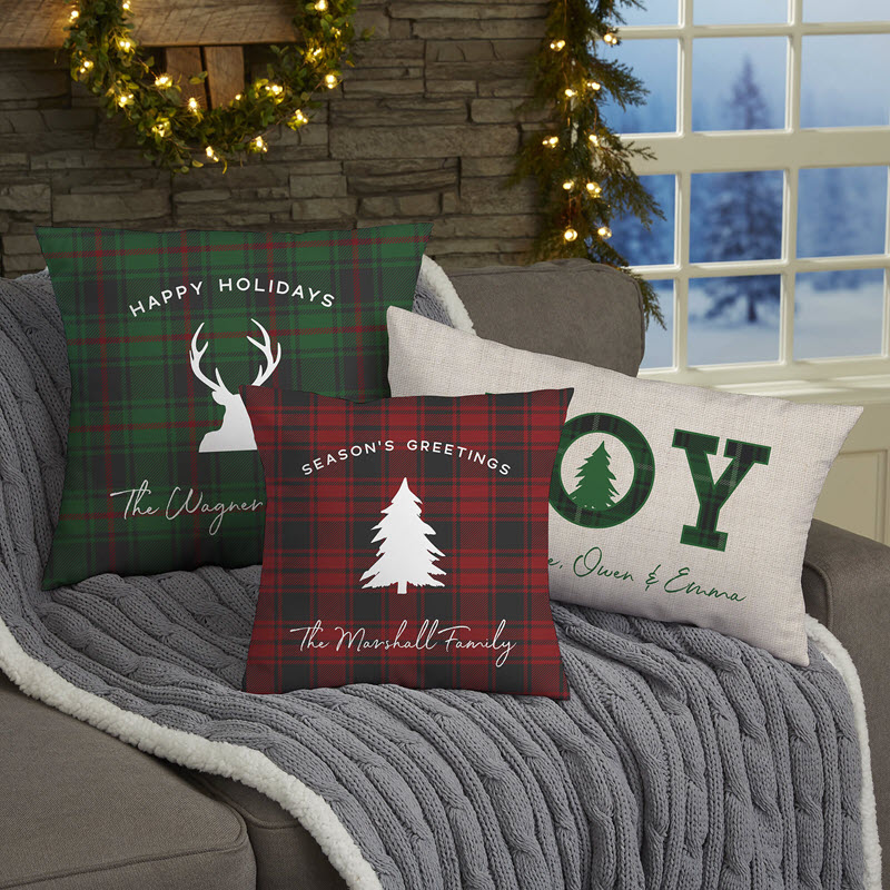 Christmas Plaid Throw Pillows