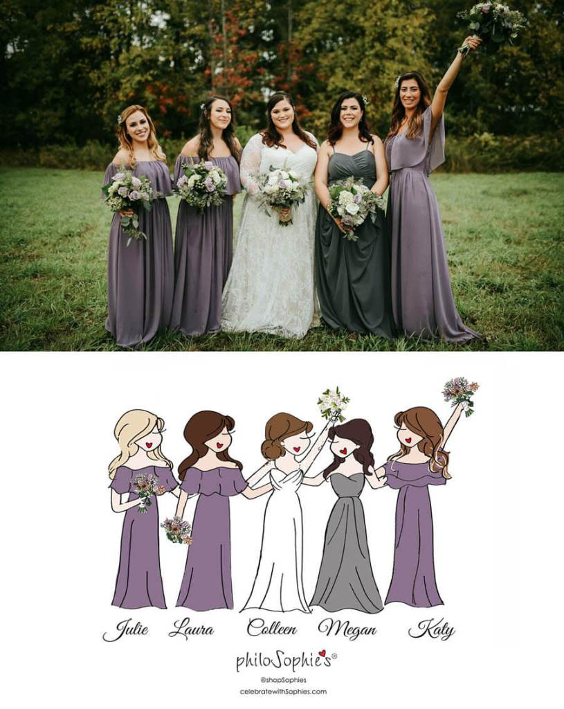 Custom wedding party illustration by philoSophie's