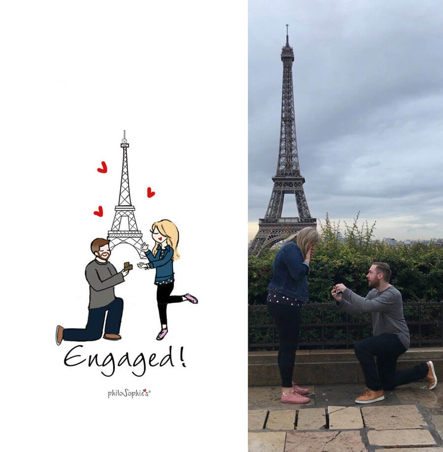 Custom engagement illustration by philoSophie's