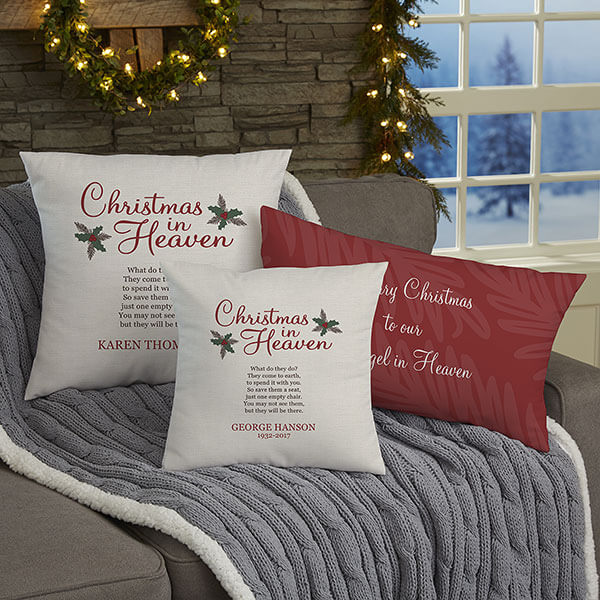 First Christmas Memorial Throw Pillows