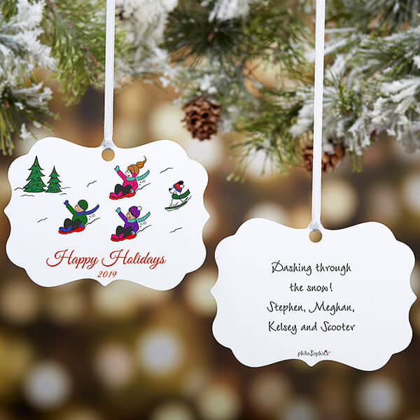 Sledding Family Personalized Ornament by philoSophie's