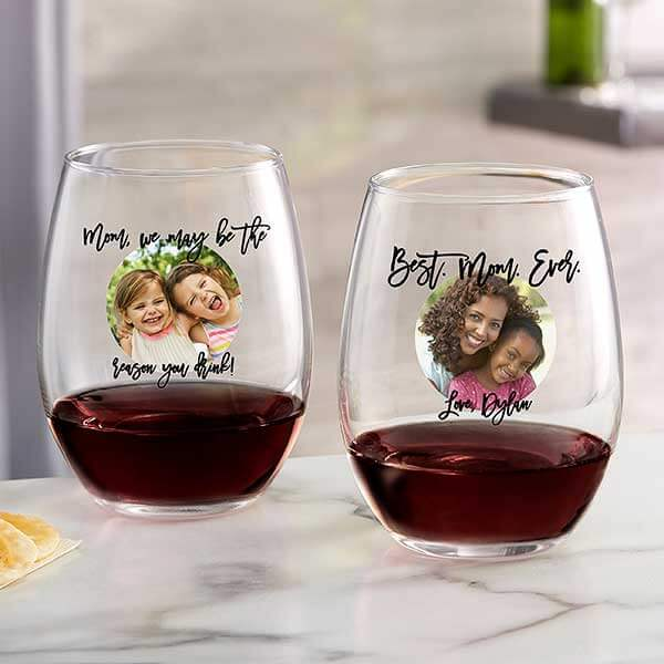 Custom Photo Stemless Wine Glasses