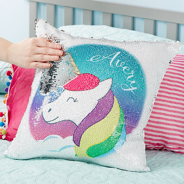 Unicorn Flip Sequin Throw Pillow