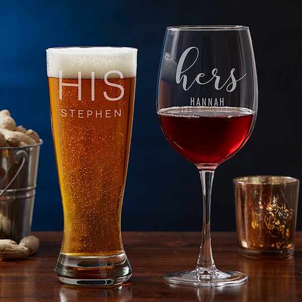 Hi & Hers Beer & Wine Glasses