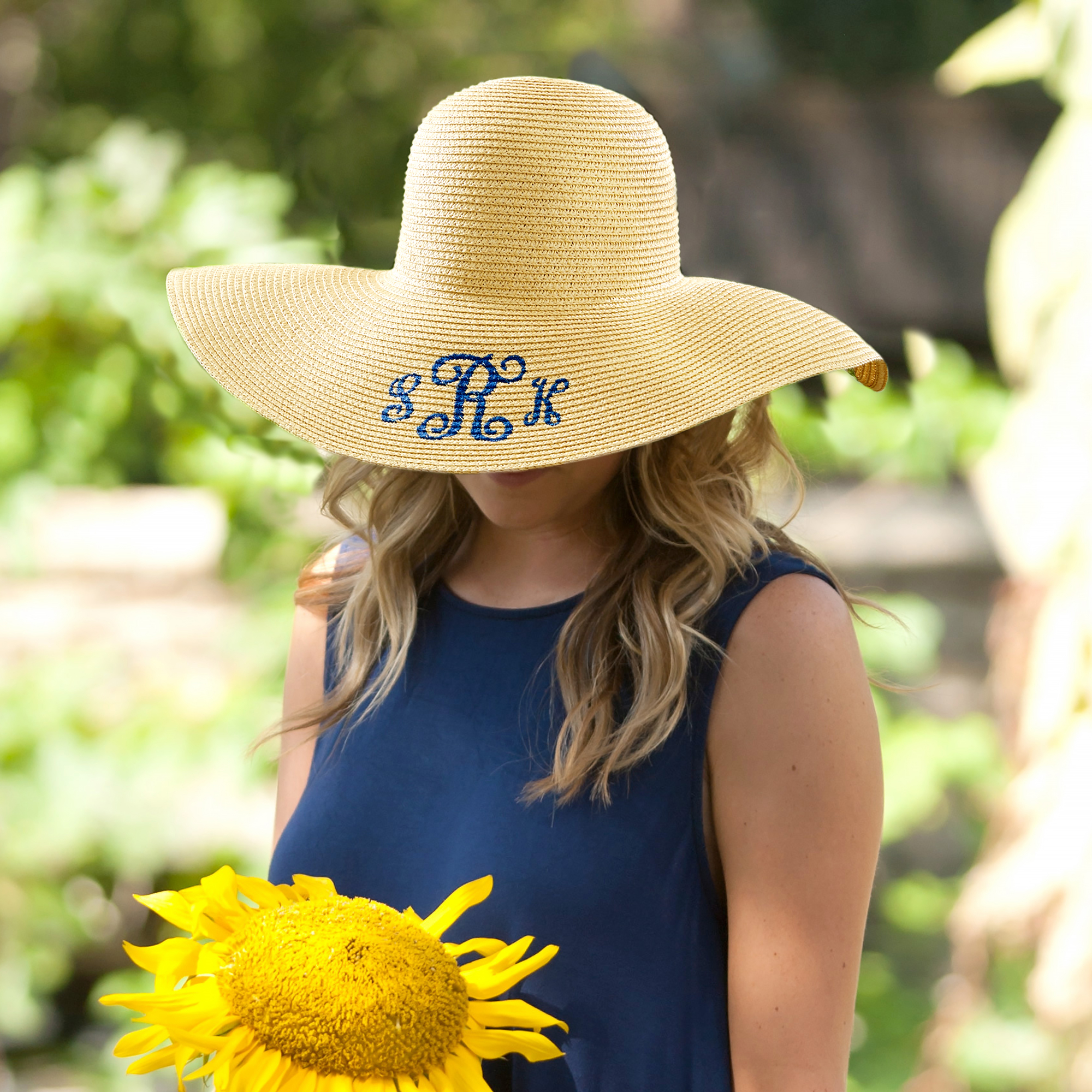 Embroidered Monogram Beach Hat