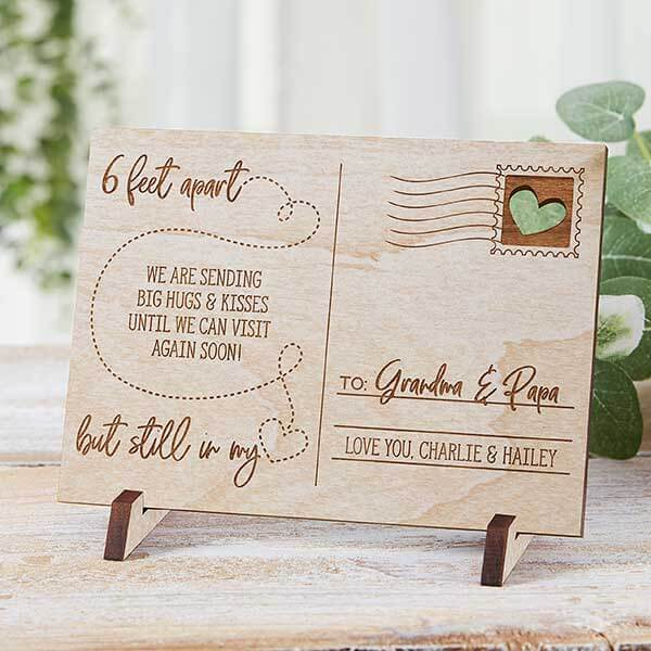 6 Feet Apart But Still In My Heart Personalized Wood Postcard