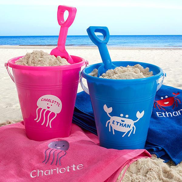 Sea Creatures Personalized Plastic Beach Pail & Shovel