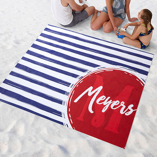 Stripes Personalized Beach Blanket