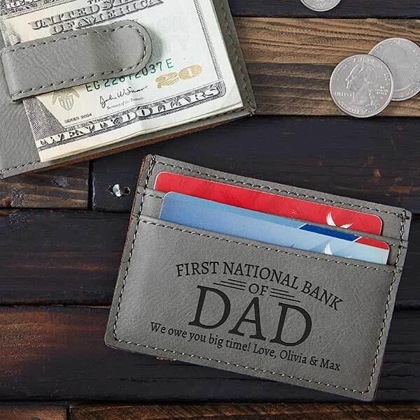 Engraved Money Clip Wallet for Dad
