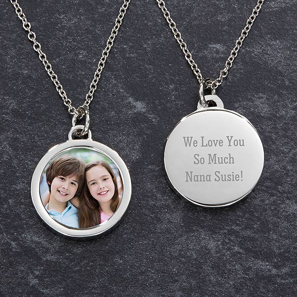 Grandma's Engraved Photo Necklace
