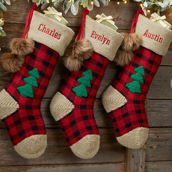 Buffalo Plaid Rustic Christmas Stockings