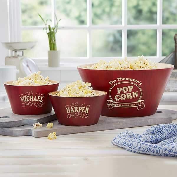 Personalized Bamboo Popcorn Bowl