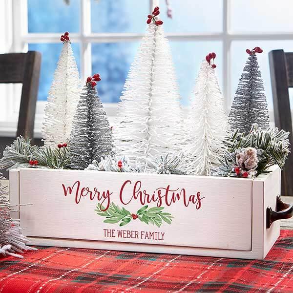 Watercolor Christmas Wood Centerpiece Box